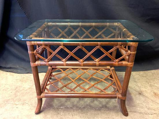 """Rattan & Glass Side Table. This is 22"""" T x 30"""" L x 20"""" W - As Pictured"""