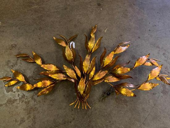 """Gold Tone Metal Leaf Wall Mount Accent Lamp. This is 31"""" T x 56"""" W - As Pictured"""
