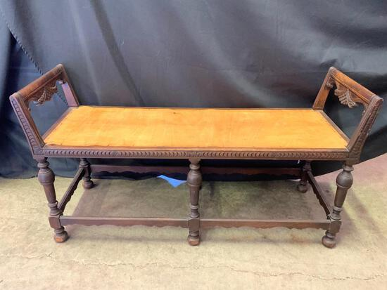 """Antique Side Bench w/Carved Detail Arms. This is 27"""" T x 50"""" W x 17"""" D. Cushion NOT Included"""