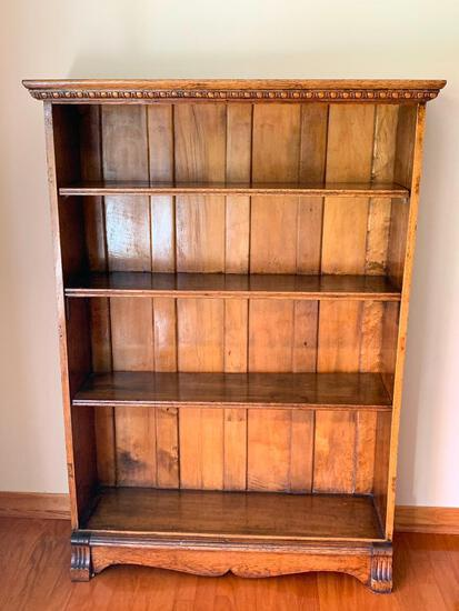 Very Nice Detailed Bookcase. Shelves are removable. Looks Like it Once Had Doors On It.