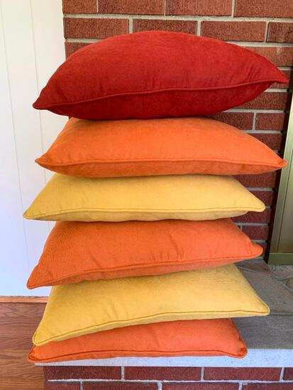 """6 Pillows of Autumn Colors. They are 18"""" x 18"""""""