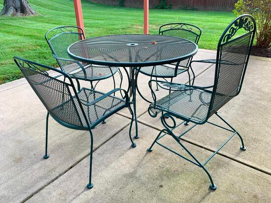 """30"""" x 42"""" in Diameter Outdoor Metal Patio Set w/4 Chairs. One Does Not Match"""