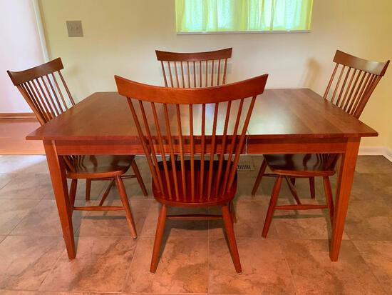 """Shaker Style Dining Room Set w/4 Chairs. This is 30"""" T x 62"""" L x 38"""" W. Has Some Scratches from Use"""