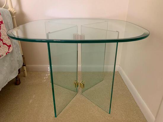 """Retro Glass Side Table. This is 20"""" T x 26"""" Square Top. This is Very Heavy."""