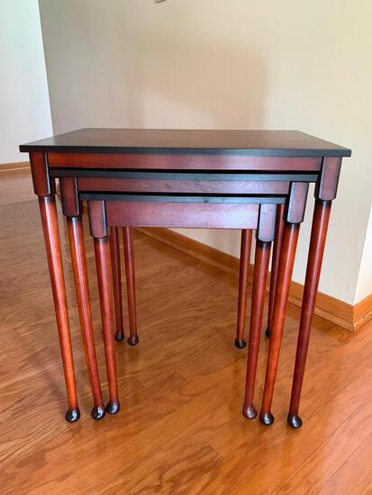 """Set of 3 Bombay Co Wood Nesting Tables. The Tallest is 26"""" T x 23"""" W x 16"""" D"""