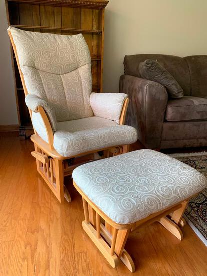 Shermag Glider Made in Canada w/Footstool. The Footstool has Some Fraying and Stains