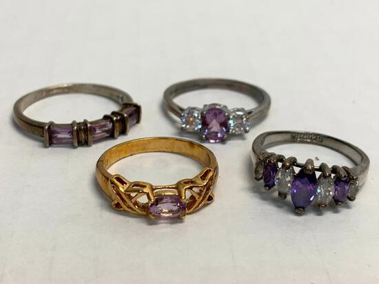 Set of 4 Ladies Rings 925 Silver. WT =11.2 grams