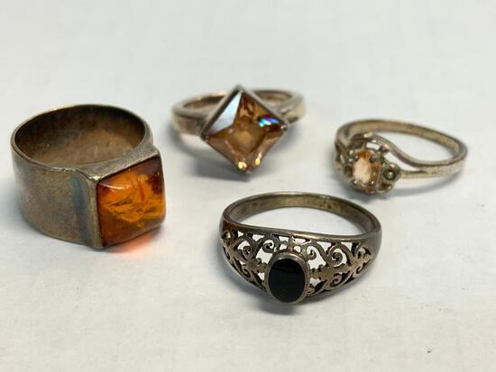 Set of 4 Ladies Rings 925 Silver. WT = 18.5 grams