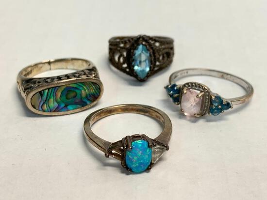 Set of 4 Ladies Rings 925 Silver. WT = 14.6 grams