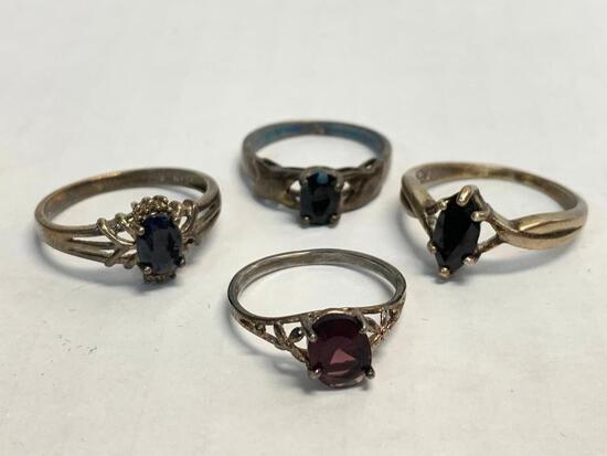 Set of 4 Ladies Rings 925 Silver. WT = 8.7 grams
