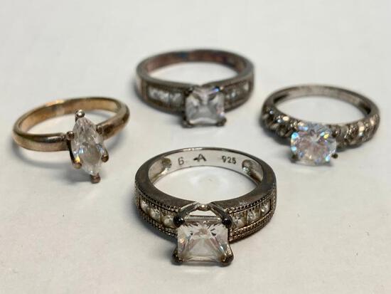 Set of 4 Ladies Rings 925 Silver. WT = 13.8 grams
