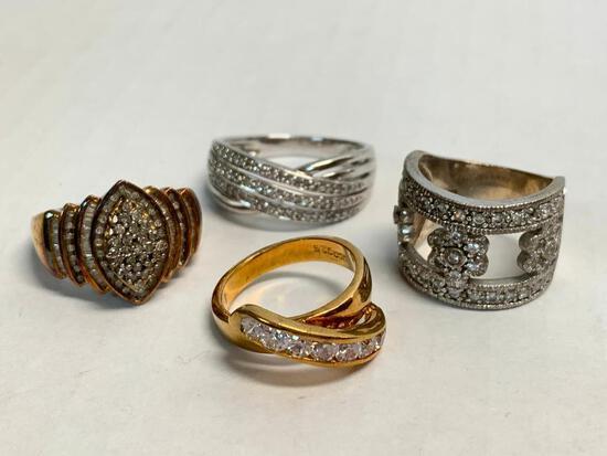 Set of 4 Ladies Rings 925 Silver. WT = 23.7 grams