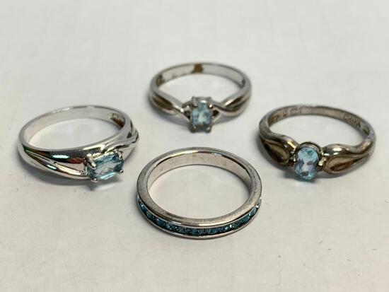 Set of 4 Ladies Rings 925 Silver. WT = 8.8 grams