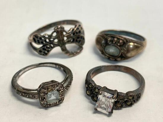 Set of 4 Ladies Rings 925 Silver. WT = 13.4 grams