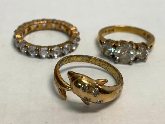 Set of 3 Ladies Rings 925 Silver WT = 11.0 grams