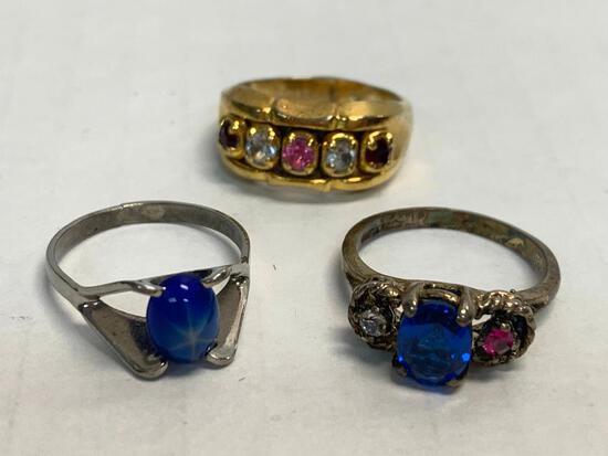 Set of 3 Ladies Rings Sterling Silver. WT = 9.4 grams