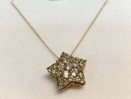 "18"" 10K Yellow Gold Chain w/3 Carat White Sapphires. WT = 2.3 grams"