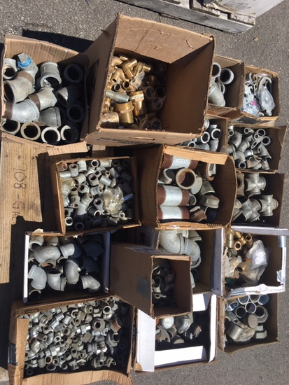 Pallet of Galvanized Fittings and Inventory