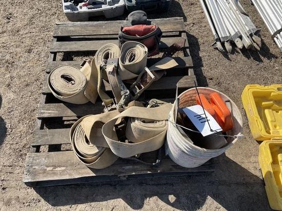 Tow straps, chalk lines, Craftsman drill, Hitachi Saw