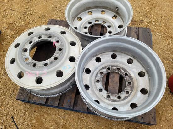 (3) 24.5 Aluminum Rims, Stud Pilot