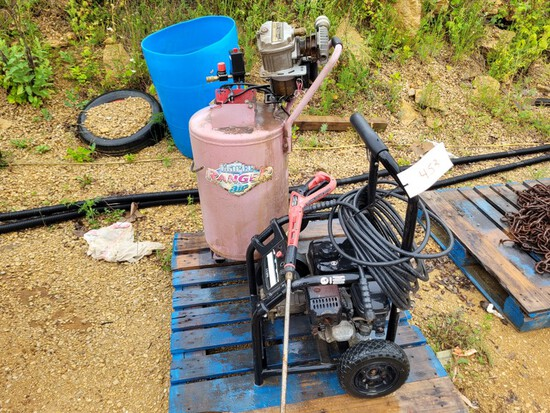 Skid w/ Air Compressor, Washers, Misc.