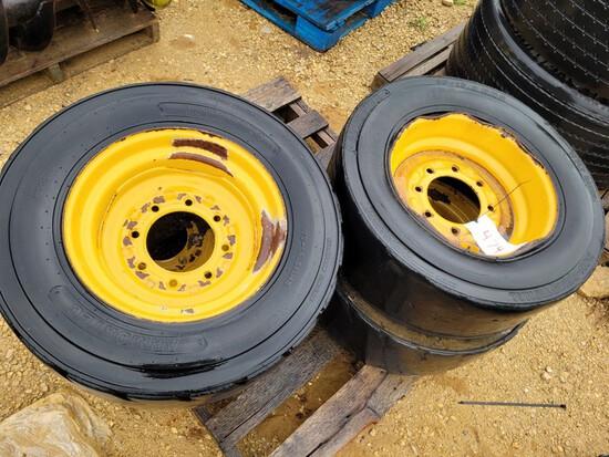 (4) John Deere Skid Steer Foam Filled Tires