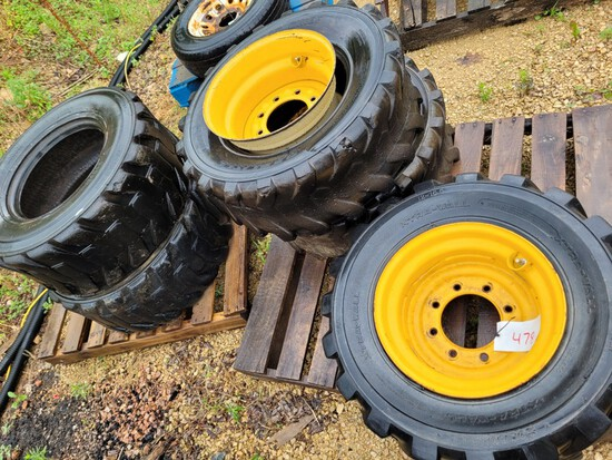 (5) 12x16.5 Skid Steer Tires, only (3) rims