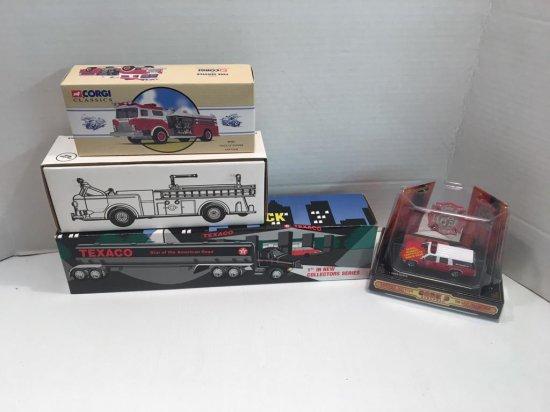 CODE 3 fire truck,TEXACO tanker truck,CORGI fire truck,more