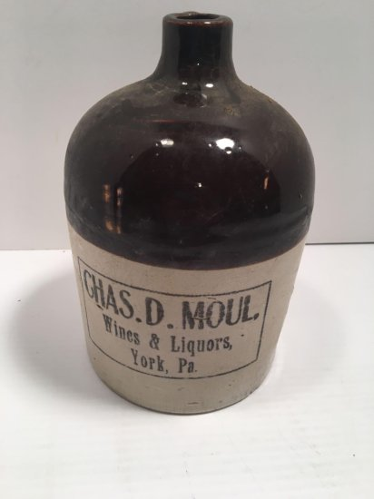 Stoneware/pottery CHAS.D.MOUL whiskey jug