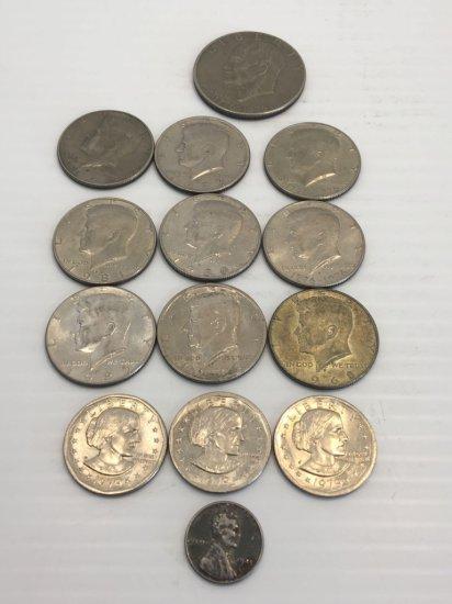 Coins: Bicentennial Eisenhower dollar, 9-Kennedy 50 cent, 3-Susan B Anthony, 1943 steel wheat penny