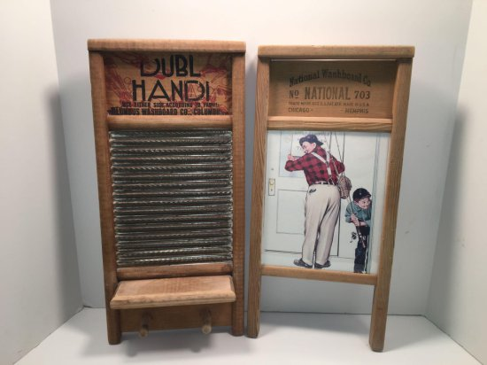Dubl Handi Columbus Washboard Co washboard, National Washboard co. Norman Rockwell print decor
