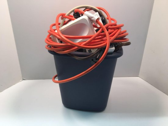 Extension cords, cordless phones, waste can, more