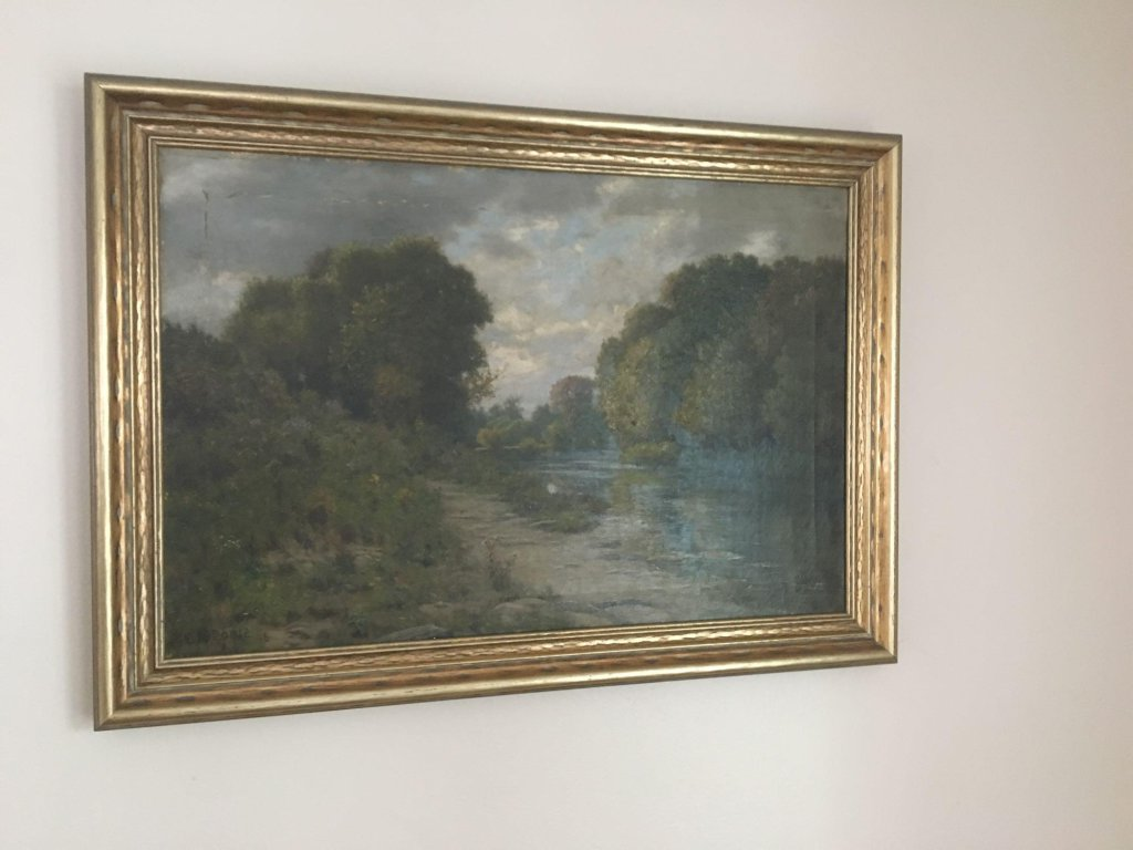 Framed oil painting signed E A POOLE 96 (American 1841-1912)