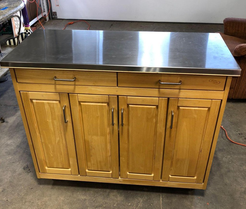 HOME STYLES gate leg rolling kitchen island/ stainless steel top
