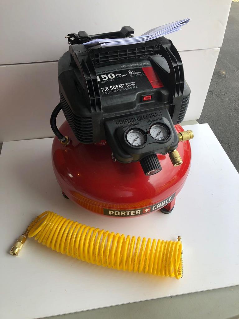 PORTER CABLE 6 gallon 150 psi compressor, slinky air hose