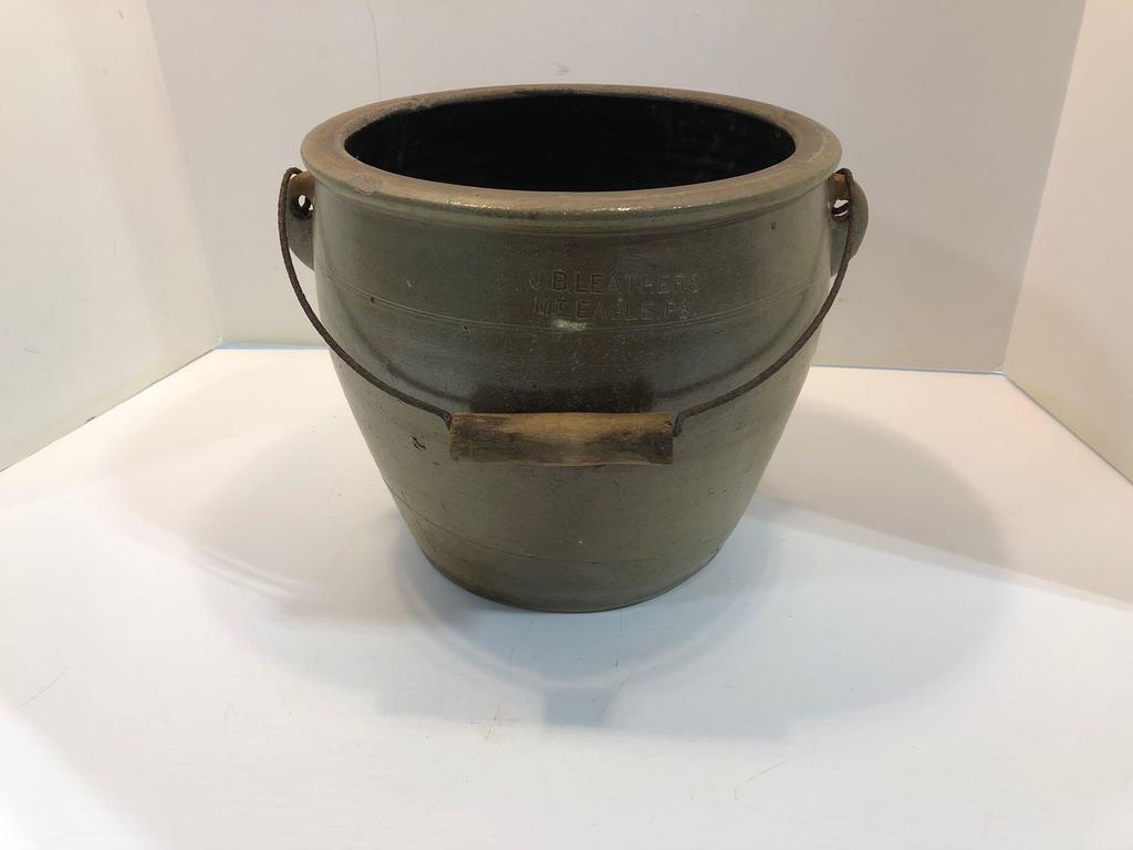 J. B. LEATHERS MT EAGLE PA 2 Gallon stoneware crock with bail handle.