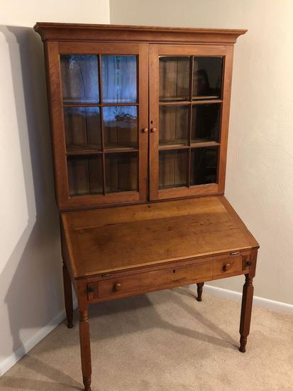 Antique Drop Front Secretary Desk >> Antique Drop Front Secretary Desk With Bookcase Top Art Antiques