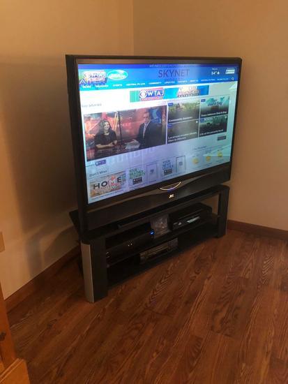 JVC 55? flatscreen TV, TV stand