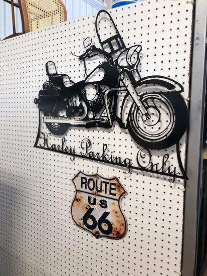 Harley Parking only sign, Route 66 metal sign