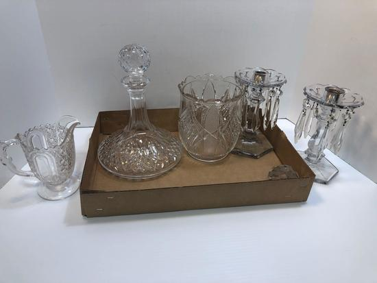 Crystal decanter, pitcher, candle sticks, more