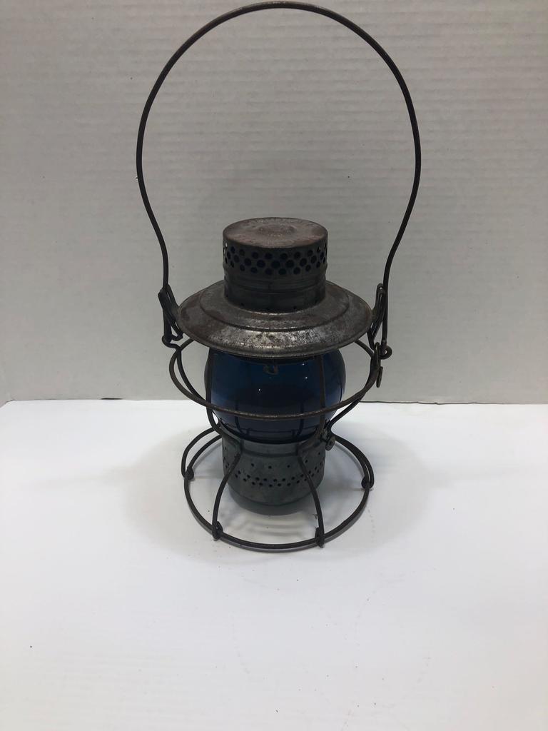 Handlan St. Louis USA Pennsylvania Railroad blue glass lantern