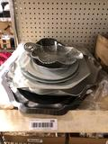 Assorted serving trays,aluminum silver plate & stoneware