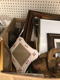 Brass wall fish, assorted metal and wood picture frames