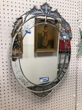 Mid century modern wall mirror etched glass