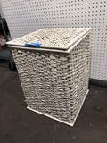 Wicker storage container with puzzles
