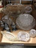 Assorted glassware and Pewter salt and pepper shakers