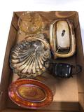 Assorted carnival glass yellow depression Henley silver and Roger silver company pieces