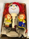 Raggedy Ann lamp and raggedy ann and Andy plaster Paris banks