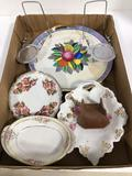 Assorted china, porcelain plates, saucers and teacup saucer holders