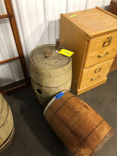 One Rye Whiskey Barrel and one barrel